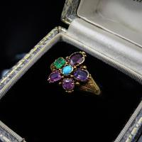 Antique Georgian Multi Gemstone Pansy Cluster 18ct Gold Ring (2 of 9)