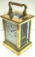 Good Antique French 8-day Carriage Clock Bevelled Case Large Dial & Carry Handle (5 of 13)
