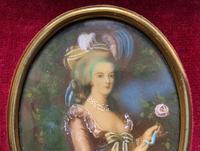 Gorgeous Original Vintage Miniature Portrait Oil Painting in 18th Century Manner (7 of 10)