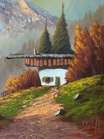 The Three Peaks 20thc Vintage Swiss School - Mountainous Landscape Oil Painting (4 of 12)