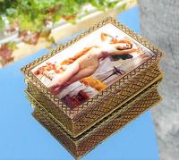 Rare Beautiful Victorian 18ct Gold Plated Nude Lady Rectangle Snuff Box