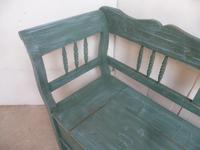 Lovely Green & Blue 3 Seater Antique Pine Kitchen / Hall Box Settle / Bench (6 of 10)
