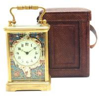 Superb French 8 Day Champleve Carriage Clock Cylinder Platform, Working c.1900 (7 of 12)