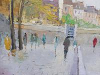 Large Oil on Canvas Notre Dame Artist L Du Bois 1960s (7 of 10)