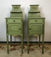 Antique French Painted Bedside Tables Pot Cupboards Original Paint (2 of 13)