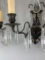 French Bronzed Crystal & Glass Pair of Wall Lights, Rewired c.1890 (4 of 7)