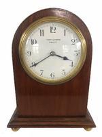 Quality Antique Inlaid Mahogany Eight Day Desktop Clock by R Stewart of Glasgow