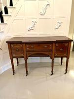 Fine Quality Antique Regency Brass Inlaid Mahogany Breakfront Sideboard
