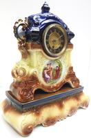 Antique 8-day Porcelain Mantel Clock Classical Blue & Earth Glazed French Mantle Clock (4 of 12)