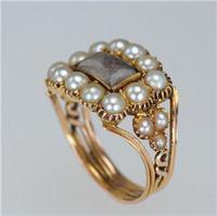 Georgian 15ct Gold Pearl Antique Memorial English Ring c.1800 (11 of 20)