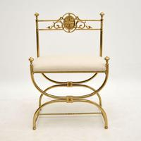 Antique French Empire Style Brass Stool / Chair (2 of 9)