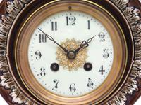 Amazing French 8 Day Majolica Mantle Clock Set Rare Pottery Mantle Clock Set (7 of 11)