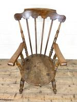 Antique Ash & Elm Armchair with Penny Seat (3 of 9)