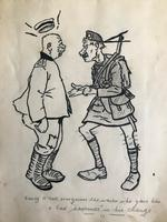 Original pen drawing of a Scottish and German 1st World War soldiers
