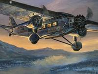 Original Oil on Canvas 'A National Air Transport Plane Powered by a Ford Tri Motor Makes an Approach in the Evening' by Douglas Ettridge - Signed c.1980 (2 of 4)