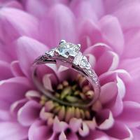Art Deco Platinum Diamond Solitaire Ring, Antique Diamond Engagement Ring (7 of 8)
