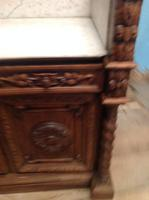 19th Century French Solid Oak Gothic Oak Revival Marble Top Washstand (4 of 9)