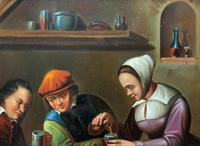 Early 19th Century Dutch School Drinking in a Tavern Oil on Panel Portrait Painting (9 of 11)