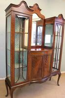 Antique Quality Shaped Mahogany Mirror Back Display Cabinet (6 of 7)