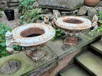 Fine Pair of French Cast-iron Painted Urns (5 of 7)