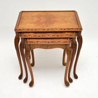 Queen Anne Style Burr Walnut Nest of Tables c.1930 (3 of 9)