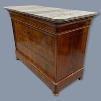 Exceptional French Marble Top Mahogany Inlaid Commode (3 of 12)