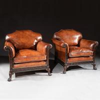 Pair of 19th Century Mahogany Country House Leather Armchairs