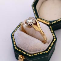 Mid 20th Century 18ct Gold Diamond Engagement Solitaire Ring Size O (3 of 11)