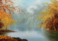 Immaculate Large Original Mid-20thc Vintage Autumn River Landscape Oil Painting (4 of 11)