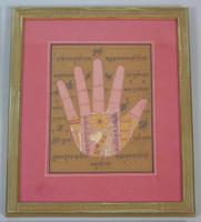 Rare Set of 4 Antique Indian Paintings Palmistry & Solestry (4 of 8)