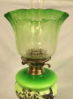 Antique Victorian Green Glass Oil Lamp & Original Frilled Green Shade (13 of 13)