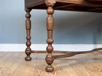 19th Century Single-Drawer Serpentine Stretcher Dining Table (4 of 8)