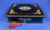 19th century French Ebony, Brass Lacquer & Red Tortoiseshell Jewellery Box (11 of 17)