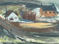 Scottish Mixed Media Painting Cottages in Ayrshire Signed Robert Sinclair Thomson 1915-1983 ARSA, RSW (3 of 27)