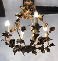Antique French Birdcage Style Gilt Toleware Ceiling Light Chandelier With Roses (8 of 10)