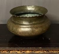 Good Size Persian 19th Century Patinated Brass Bowl (5 of 8)