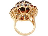 17.67ct Citrine & 1.33ct Diamond, 18ct Yellow Gold Dress Ring - Vintage French c.1950 (4 of 9)