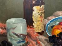 Exceptional Original Vintage Still Life of Fruit & Wine French Oil Painting (8 of 12)