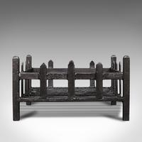Antique Fireplace Grate, English, Cast Iron, Fire Basket, Late Victorian c.1900 (4 of 10)