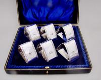 Cased Set of Six Edwardian Silver Plated Numbered Napkin Rings (2 of 5)