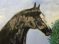 Impressionist Oil Painting Prized Thoroughbred Equestrian Black Horse Portrait (7 of 13)