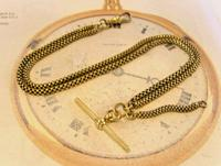 Victorian Pocket Watch Chain 1890s Antique Brass Double Albert With T Bar (3 of 11)