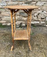 Antique Victorian Octagonal Bamboo Rattan Table (2 of 9)