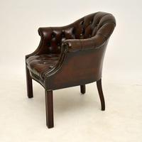 Antique Leather Armchair / Desk Chair (3 of 9)