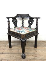 Victorian Carved Oak Corner Chair with Floral Upholstery (5 of 9)