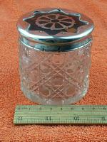 Antique Sterling Silver Hallmarked Cut Glass Faux Tortoise Shell Jar C1897 London (2 of 8)