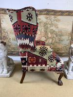 Kilim Covered Wingback Armchair on Ball & Claw Feet (7 of 9)