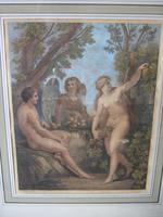 Bartolozzi RA after Thomas Stothard RA: late 18th/early 19th century stipple engraving of Adam and Eve with Archangel Raphael, illustrating Milton's Paradise Lost (2 of 7)