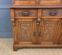 Victorian Carved Oak 3 Door Bookcase (4 of 23)