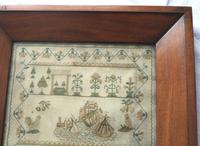 Rare & Fine Embroidery Silk Textile Scottish Castle Sampler c.1841 (2 of 9)